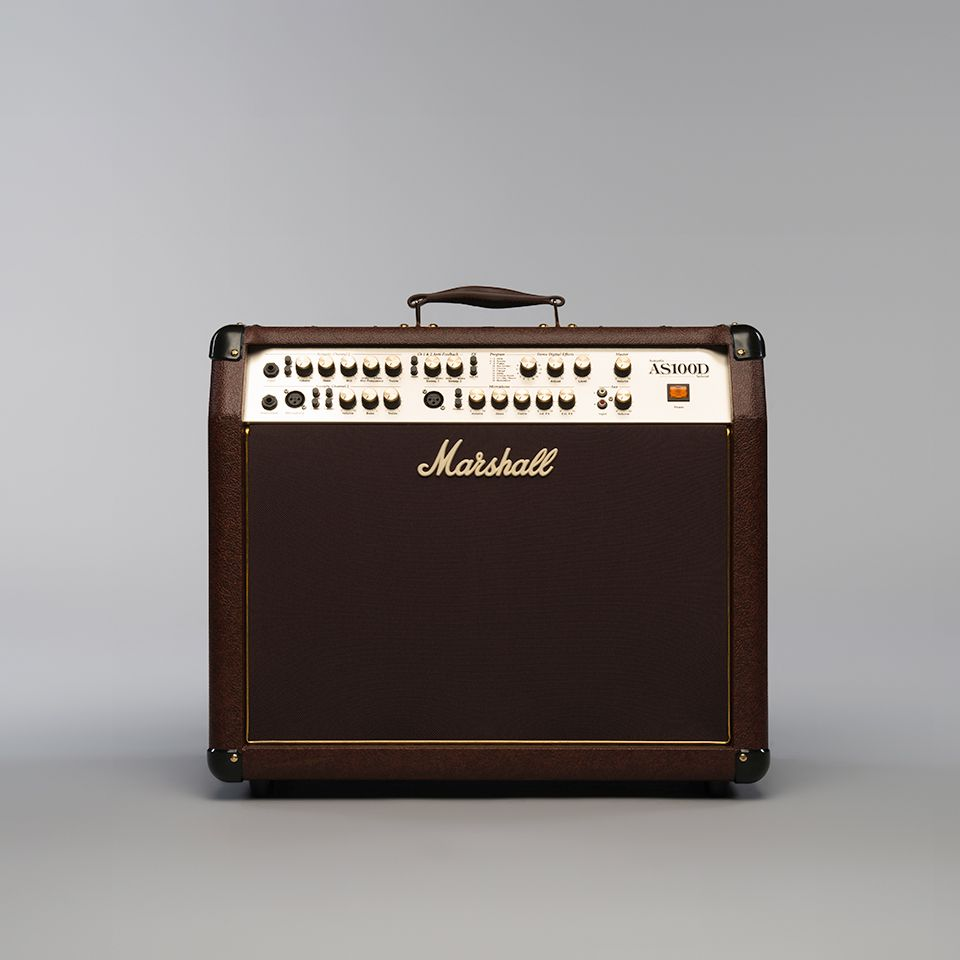 Marshall As100d 2 X 8 50 Watt Acoustic Amp Combo In Brown With Amplifier Digital Effects