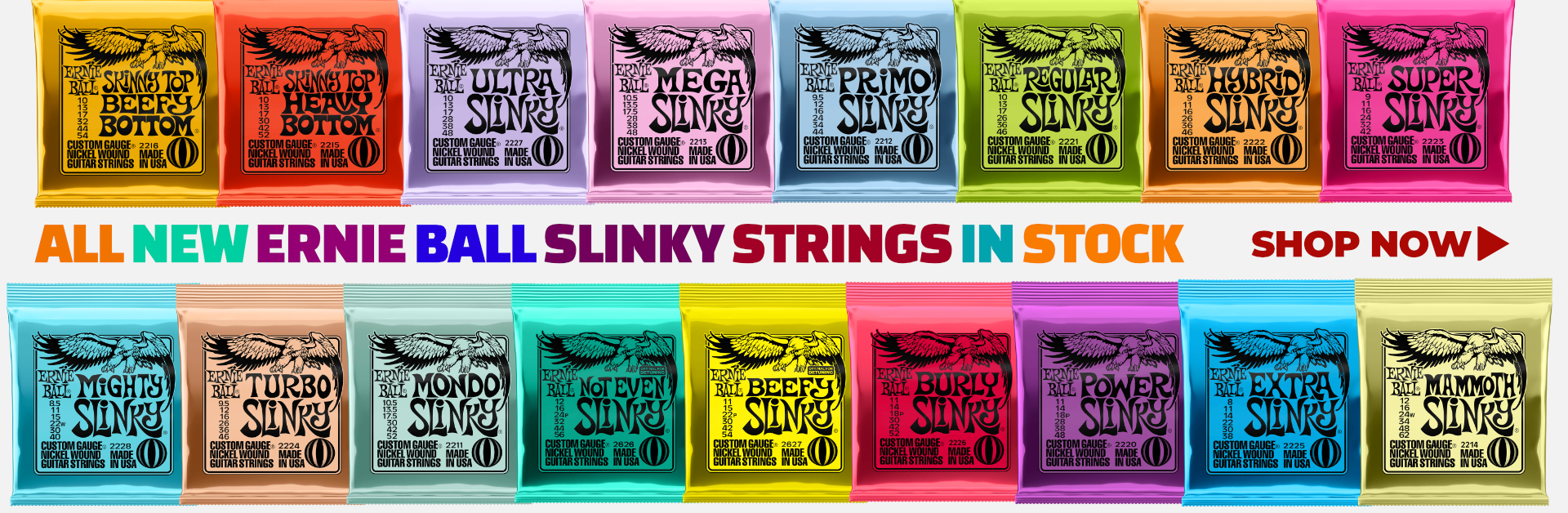 All New Ernie Ball Slinky Strings In Stock  - Shop Now